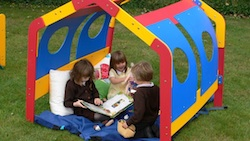 Bright colourful school play den outdoor play equipment