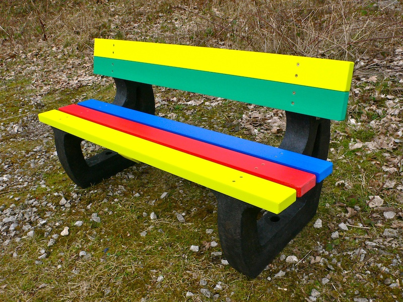 Colne Rainbow Bench Garden Bench Multicoloured Recycled Plastic Education