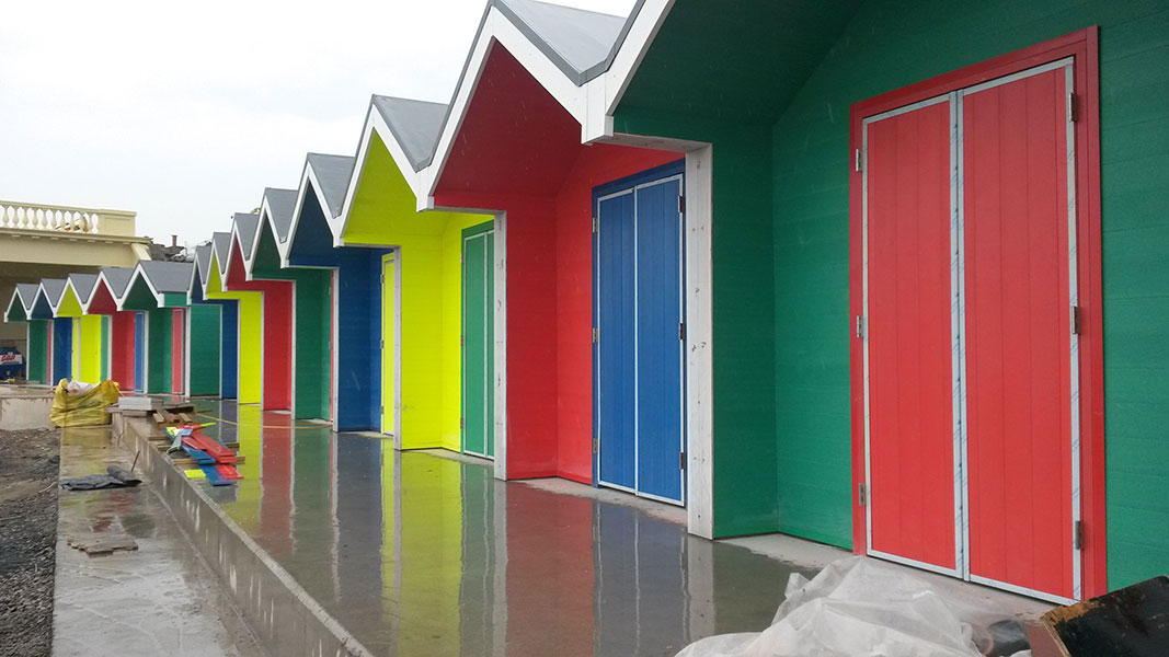 Beach Huts on Barry Island made from Recycled Plastic Tongue and Groove Boards