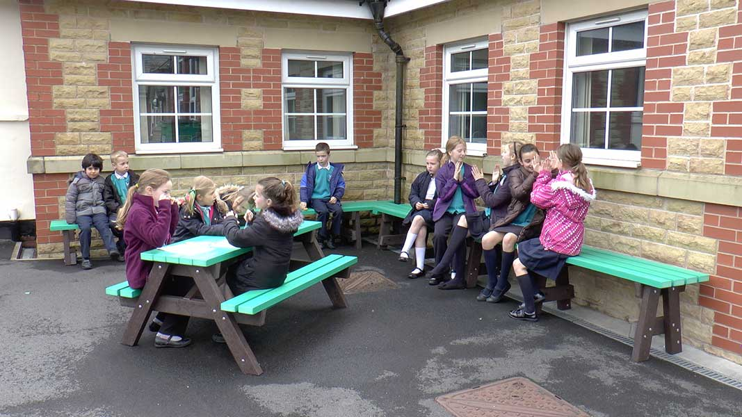 Ribble Picnic Table and Benches in Recycled Plastic at Belmont School, Bolton