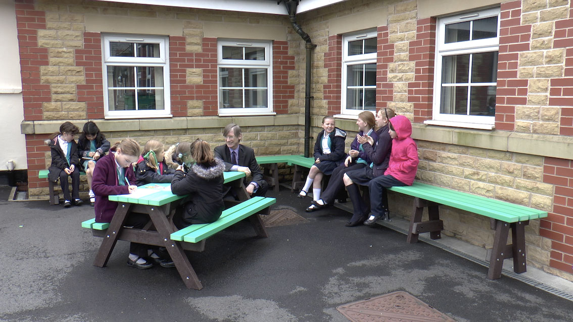 Turton Belmont Community Primary School playground after refurbishment with recycled plastic seating