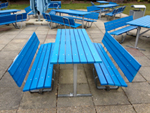 Recycled plastic wood blue benching planks