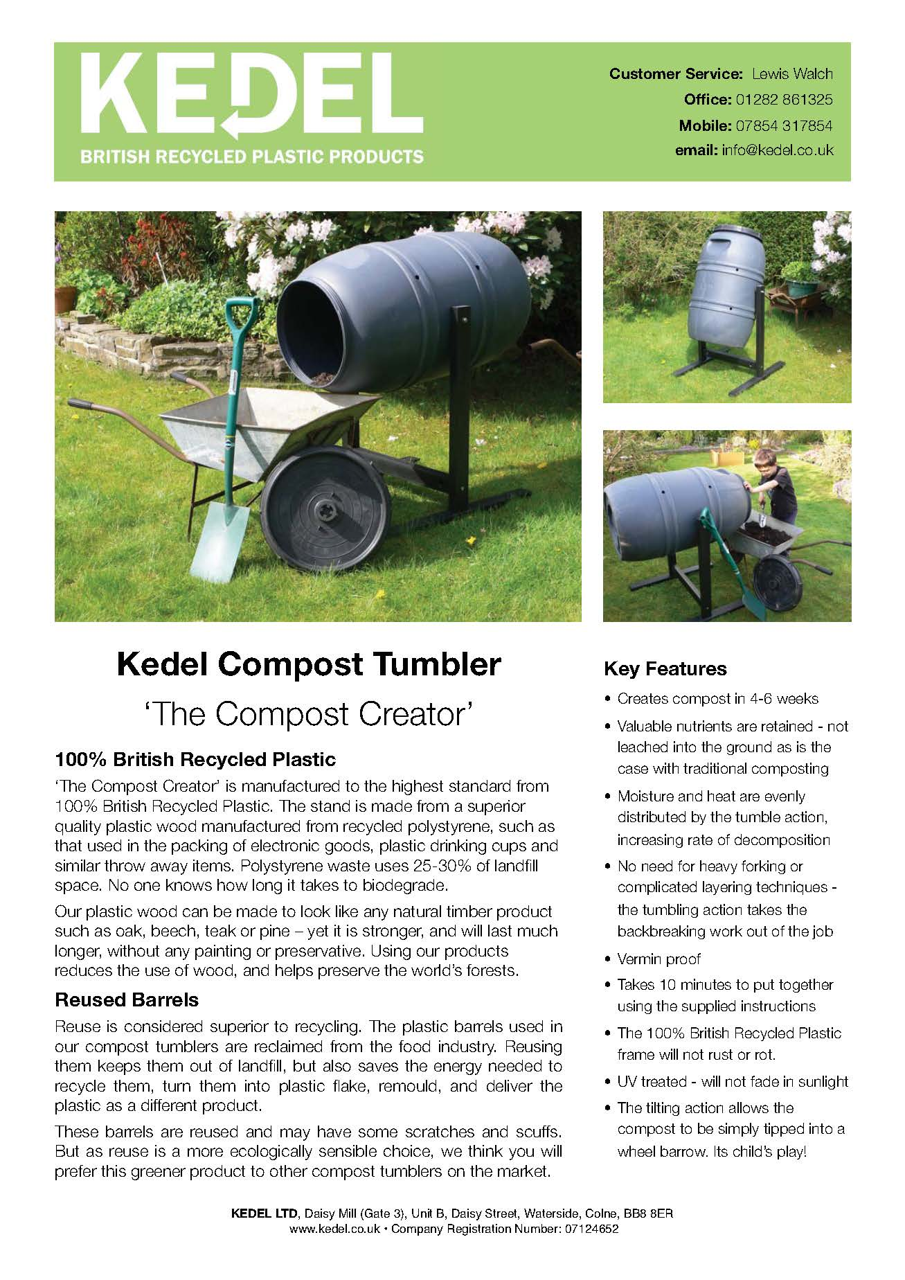 Recycled Plastic Compost Tumbler Technical Specification
