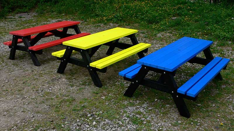 Recycled Plastic Picnic Table Ribble Rainbow Kedel
