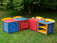 Recycled Plastic Outdoor Play Kitchen (phonic words) for schools