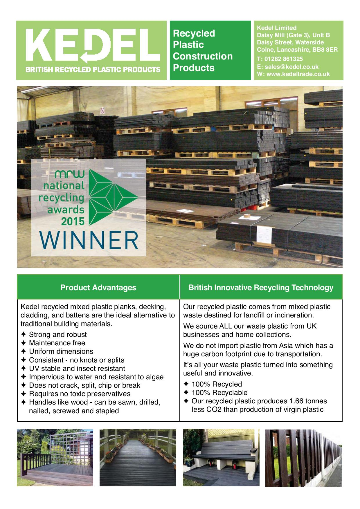 Mixed plastic lumber key advantages & product range leaflet