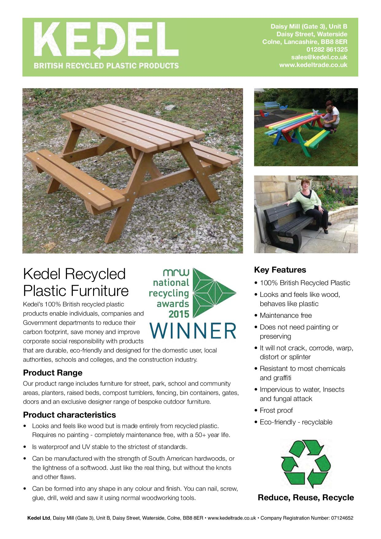 1 page recycled plastic furniture key features leaflet