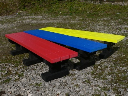 Junior 2 Seater Multicoloured Tees Bench - No Back - Recycled Plastic