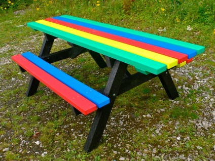 Ribble Rainbow Picnic Table with Extended Ends - Wheelchair/Pushchair Friendly
