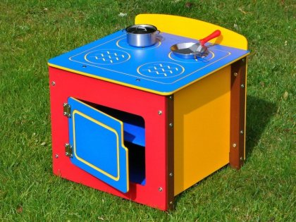 Children's Play Cooker - Single Kitchen Unit - Multicoloured Recycled Plastic