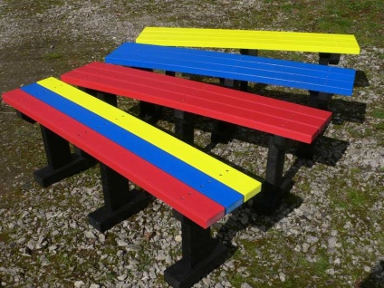 Multicoloured Tees Bench - Garden/Park - No back - Recycled Plastic