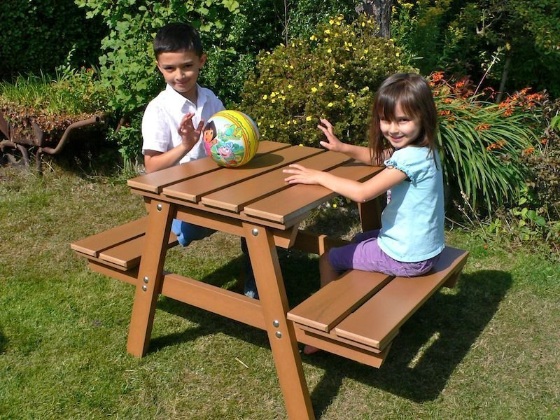 Kids childrens picnic table recycled plastic education zoom watchthetrailerfo