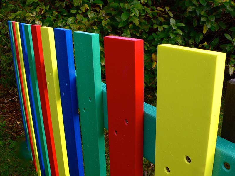 Multicoloured Fence Pales Recycled Plastic Wood Education