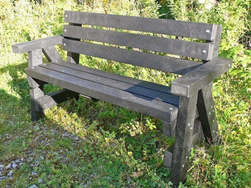 Recycled Plastic Garden Bench With Arms And Back Ribble Education