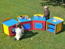 Children's Play Kitchen - Single Units - Complete Set of 4 - Multicoloured Recycled Plastic