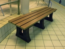 Tyne Sports Bench - Moulded Base - Recycled Plastic Wood Seat